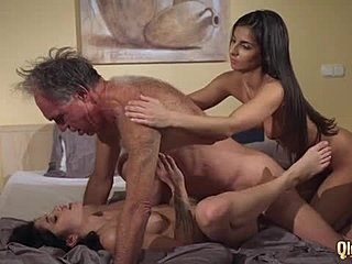 Doggystyle, Old, Share, Old man, 3 some, Tits, Dad and girl