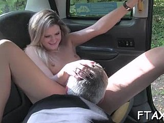 Outdoor, Riding, Car, Ass licking, Blonde, Adorable, Taxi