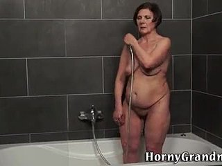Riding, Granny, Bathing, Old, Cum in mouth, Shower, Cougar